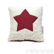 Kissen Mini Kuschelfell roter Stern