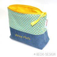Windeltasche Jeans und Punkte01